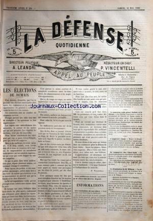 DEFENSE JOURNAL CORSE (LA) [No 231] du 26/05/1888 - LES ELECTIONS DE DEMAIN PAR VINCENTELLI -LES COURTOISIES DE NOS ALLIES -LA DEMISSION DE WILSON -LE COMMERCE DES ETATS-UNIS -LE NOUVEAU CODE PENAL ITALIEN ET LE CLERGE