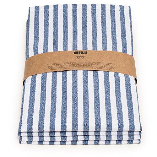 FILU Servietten 8er Pack Blau/Weiß gestreift (Farbe und Design wählbar) 45 x 45 cm - Stoffserviette aus 100% Baumwolle im skandinavischen Landhausstil - Stoff Blau Und Weiß Gestreiften