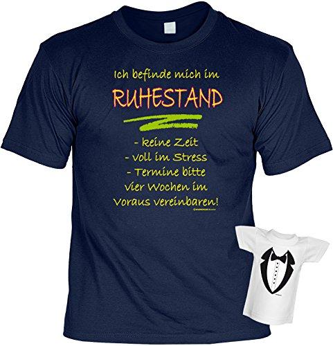Rentner-Sprüche/Fun-Shirt+Mini-Shirt/Flaschendeko: Ich befinde mich im Ruhestand... - Geschenkset