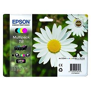 Epson Multipack 4-Colours 18 – Printer Ink Cartridge (Black, Cyan, Magenta, Yellow, Epson XP-30/XP-102/XP-202/XP-205/XP-302/XP-305/XP-402/XP-405, Standard Yield, 192 x 141.75 X 45 mm)