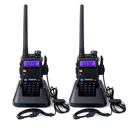 Retevis RT-5R Walkie Talkie 128Canales UHF 400-520MHz VHF 136-174MHz Dual Banda Doble Frecuencia FM Radio 1750HZ con Auricular, Batería, Antena, Cargador, y Más (Negro, 1 par)