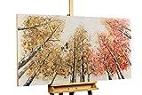 KunstLoft® Acryl Gemälde 'Magie im Wald' 140x70cm | original handgemalte Leinwand Bilder XXL | Bäume Leben Rote Gelbe Blätter | Wandbild Acrylbild Moderne Kunst einteilig mit Rahmen