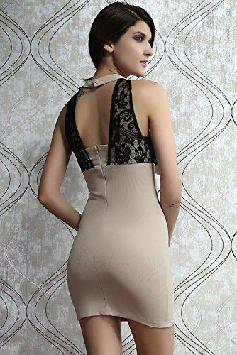 E-Girl femme Beige SY2910 mini robe Beige