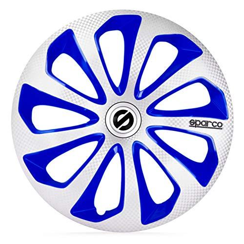 Satz Sparco Radzierblenden Sicilia 14-Zoll Silber/Blau/Karbon Blau 14