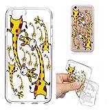 iPhone 7 8 Hülle, E-Unicorn Handyhülle Apple iPhone 7 8 Hülle Transparent mit Muster Lustige Giraffe Silikon Durchsichtig Tasche Ultra Slim Dünn TPU Bumper Schutzhülle Stoßfest Hochwertigem Zubehör Set Etui Schale Back Case Cover Rückseite