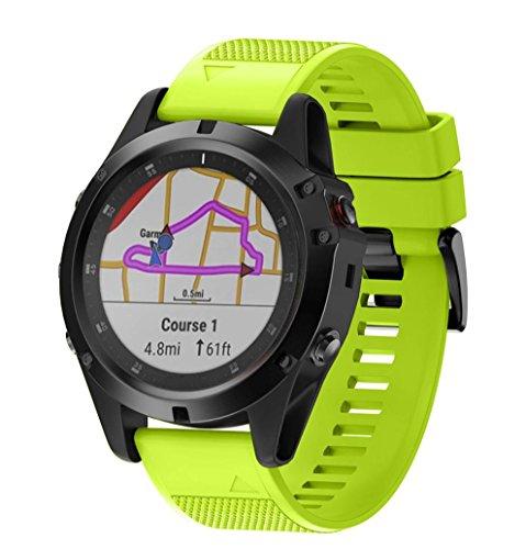 Y56 ersatzband Armband Uhrenarmband Bracelet fitnessarmband für Garmin Fenix 5X Plus,Ersatz Silikon Schnellverschluss Einfach Fit Wirstband Für Garmin Fenix 5X Plus (Grün)