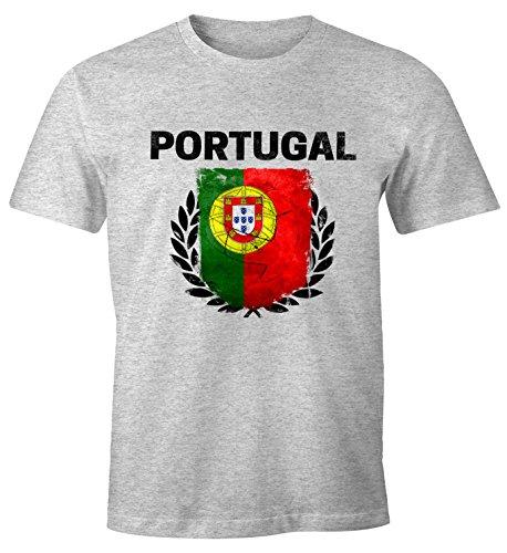 EM WM T-Shirt Herren Fußball Portugal Flagge Vintage Fanshirt Fan Shirt MoonWorks® grau-melange XS