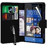 N4U Online HTC Windows Phone 8S PU Leather Wallet Case Cover, Screen Protector & Stylus Pen - Black