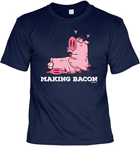 Motiv/Grill/Spaß-Shirt/Fun-Shirt/Rubrik lustige Sprüche: Making Bacon - geniales Geschenk Navyblau