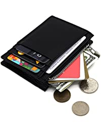 Zhoma Rfid Blocking Genuine Leather Slim Zipper Credit Card Holder Wallet With Id Window - Black