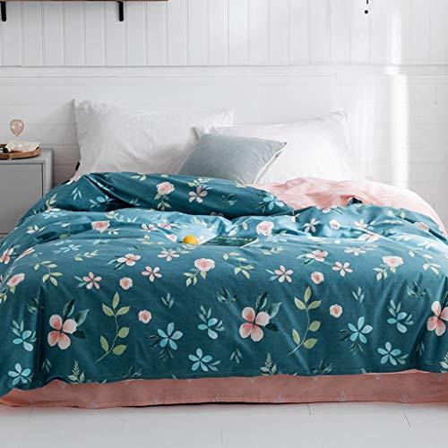 Zhanyi Plant Flower Bettbezug Passende rosa Bettwäsche Doppel- / Einzelkissenbezug Baumwolle 4 oder 3 Sätze Reißverschluss Wendbares Design Blau Waschbar (Size : Single/Twin)