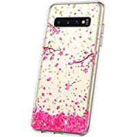 JAWSEU Funda Brillante Compatible con Samsung Galaxy S10, Brillo Bling Glitter Diseño Transparente Cristal Suave Delgada TPU Silicona Gel Goma Bumper Carcasa Antigolpes Protectora Cubierta,Flores-3