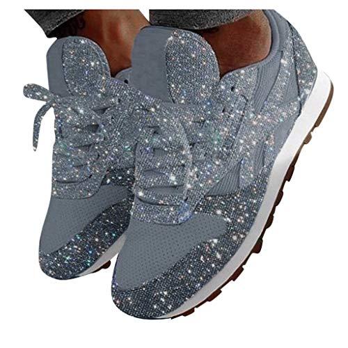 Donne Popolari di Colore Solido All'Aperto Paillettes Panno Scarpe Sportive Casual in Esecuzione Scarpe da Ginnastica Sneaker da donna traspirante con paillettes in mesh di Jujia.