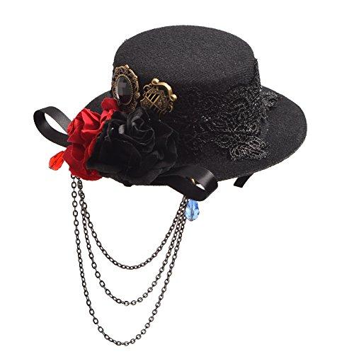 BLESSUME gotisch Frau Steampunk Gang Flügel Uhr Schmetterling Hut Spitze Haar Clip Kopfbedeckung(30 Arten) (Schwarz 7)