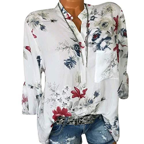 Damen Tops und Bluse mit Blumenmuster, langärmelig, für den Sommer - Weiß - 5XL