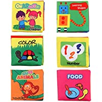 Amazemarket 6 Pcs Set Baby Infant Cloth Books with Rustled Paper Bed Time Story Soft Early Educational Interactive Language Enlightenment Toy Birthday Gift (no retail box)