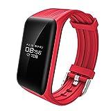 Fitness Tracker mit Pulsmesser, Izefia K1 Fitness Armband mit Pulsmesser Herzfrequenz , Schrittzähler, Schlafüberwachung, Aktivitätstracker Schwimm Sportuhr Kalorienzähler, Schlafanalyse, SMS Anrufe Reminder für Android IOS phone (Rot+Rot Ersatzband)