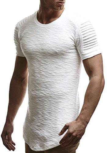 LEIF NELSON Herren oversize T-Shirt Hoodie Biker-Style Rundhals Ausschnitt Kurzarm Longsleeve Top Basic Shirt Crew Neck Vintage Sweatshirt LN6325 S-XXL; Größe M, Ecru
