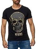 Lagos Herren T-Shirt Rundhals mit Totenkopf Strass 19754 (19755 sw, XXL)