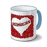 Tasse mit Namen Kussmäulchen - Motiv Rosenherz - Namenstasse, Kaffeebecher, Mug, Becher, Kaffeetasse - Farbe Hellblau