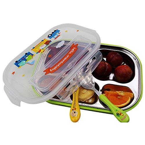 Vine Boîtes Bento Ensemble les Enfants avec Cuillère Fourchette et Sac à déjeuner 5 Compartiments, Vert