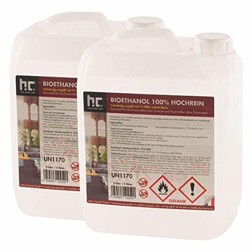 10 L Bio Ethanol Premium 100% (2 x 5 L) für Kamin - versandkostenfrei - in zwei sicheren 5 L Kanistern