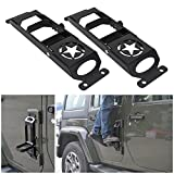 BOXATDOOR Door Steps Door Hinges for Wrangler JK 2 X Foot Pedal Peg Military Star Black Metal Solid Steel for Wrangler JK 2007-2017