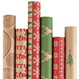 RUSPEPA Christmas Gift Wrapping Paper - Carta Kraft Marrone Con Motivo Rosso E Verde Per Il Regalo-Elementi Di Natale Collection-6 Roll-76Cm X 305 Cm Per Rotolo