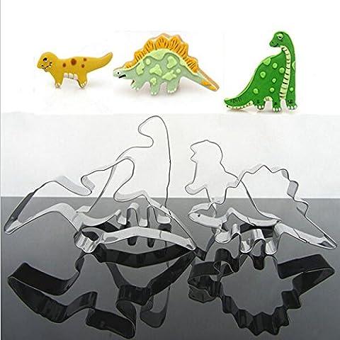 Aliciashouse 4 pezzi in acciaio inox dinosauro biscotti Cookie Cutter Strumenti - 4 Cutter Tubo Di Acciaio