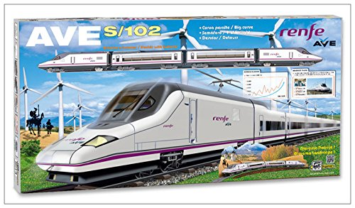 Elektrische Modelleisenbahn AVE RENFE, aus Metall, Lokomotive, Wagen, Brücke, Ampel und Weichen 710