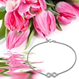 Gorgeous elegant INFINITY / Bow ANKLET with DIAMANTES, STERLING SILVER Ankle bracelet will include pretty gift box Bild 1