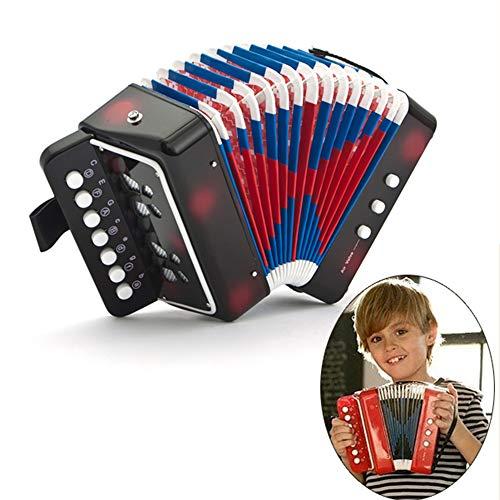 10 Tasten Kinder Akkordeon musikalisches Spielzeug - mit 3 Luftventilen und Handschlaufe, sicher langlebig für den Unterricht in der frühen Kindheit, Solo-Ensemble-Instrument, Geschenk für Kinder