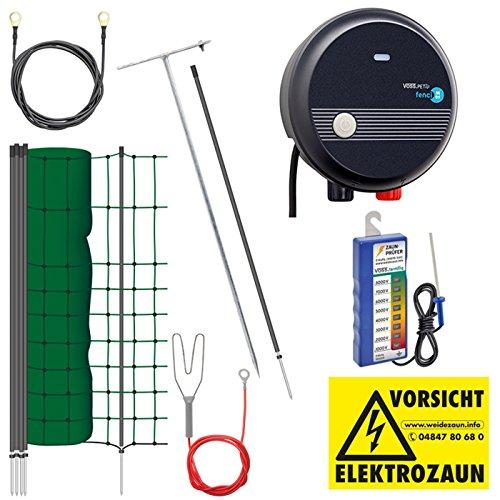 VOSS.farming Set für mit 25 m Elektronetz, 65 cm Hoch und 230 V Netzgerät Marderabwehr, Geflügel, Huhn, Reiher, Gartenzaun, Weidezaun