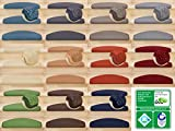 Kettelservice-Metzker Stufenmatten | Luxus Treppen-Teppich Vorwerk Toscana Halbrund SparSet Blau 15 Stück