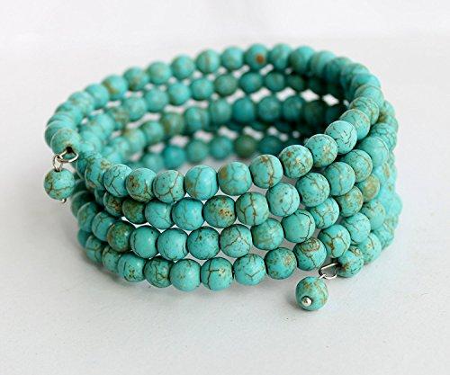 Handmade Armband Perle Türkis Männer Frauen 5 Wraps Wrap-around Armband türkis Metall Perlen Türkis Armband Hochzeit Brautschmuck