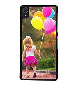 Fuson Designer Back Case Cover for Sony Xperia Z2 (5.2 Inches) (baby girl baloons walk pretty road garden)