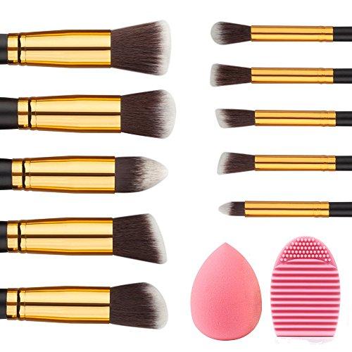Pinceau Fond de Teint Professionnel – Rantizon Kit De Pinceau Maquillage Professionnel 10 PCS, Maquillage Brosses avec Étui, Brosses de Nettoyage en Silicone avec Éponges de Maquillage, Rougir, Sourcils