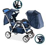 QZX Doppel-Kinderwagen Kinderwagen-Tandem-Neugeborener Kinderwagen-Buggy mit Verstellbarer Rückenlehne und Fußstütze 5-Punkt-Sicherheitssystem, Easy Fold,Starryblue