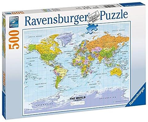 """Ravensburger - 147557 - Puzzle """"Carte Du Monde Politique"""" 500 Pièces"""