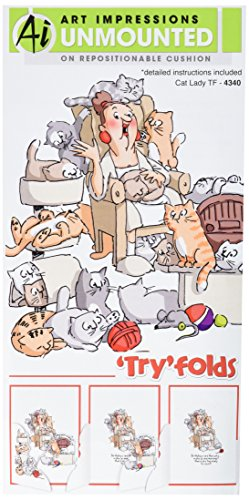"Preisvergleich Produktbild Art Impressions Try'folds Cling Rubber Stamps 10""X4.5""-Cat Lady"