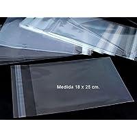 100 bolsas de celofán de 18 x 25 cm con solapa adhesiva, para dulces, detalles, etc..
