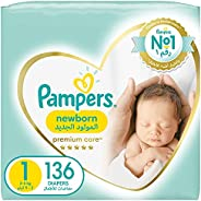 Pampers Premium Care, Size 1, Newborn, 2-5 kg, Super Saver Pack, 136 Diapers