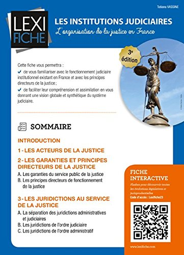 Les institutions judiciaires : L'organisation de la justice en France par From Enrick B. Editions
