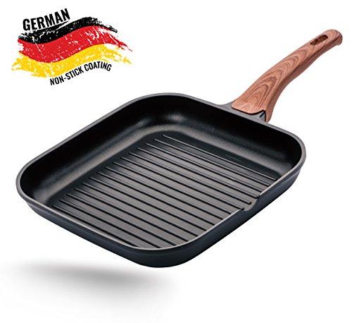 ROSMARINO Aluguss Grillpfanne 28 cm für Induktion - Preisgekröntes Antihaftbeschichtung entiwickelt in Deutchland - Aluguss BBQ Steakpfanne mit Glatt Mineral Beschichtung