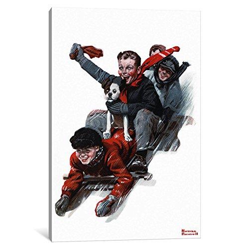 iCanvasART Kunstdruck auf Leinwand, Motiv Vier Jungen auf einem Schlitten von Norman Rockwell Tiefe: 1,9 cm, Leinwand, gespannt 12