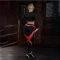 Preisvergleich für Xuanytp Yogahosen Damen Schwarz Rot Grid Patchwork Slim Fit Leggings Sportbekleidung Streifen Workout Gym Leggings