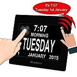 """iGuerburn 8"""" Digital Talking Touchscreen Day Calendar Alarm Clock Seniors Elderly Dementia Alzheimer's Memory Loss Visually Impaired Blindness (Black)"""