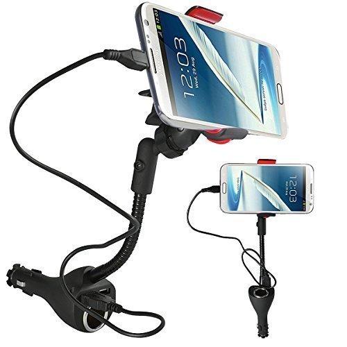 Eximtrade Universal 3in1 Einstellbar 360° Drehung KFZ Handyhalterung Auto Wiege mit Zigarettenanzünder DC Anschlüsse und 2 USB Anschlüsse 2.1A Ladegerät für Apple iPhone 6/6s/6 Plus/6s Plus/7/7 Plus, Samsung Galaxy S6/S6 Edge/S6 Edge Plus/S7 Edge und andere Smartphones (Micro USB Kabel enthalten)