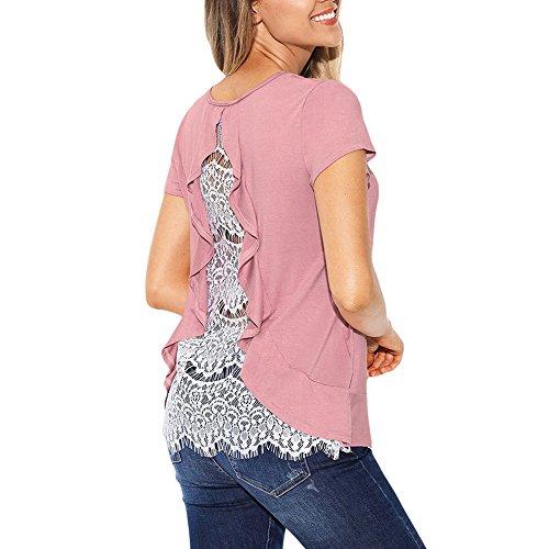 VEMOW Neue Mode Elegante Damen Frauen Kurzarm Rüschen Sommer Spitze Casual Täglichen Party Workout Backless Bluse Top Shirts Pulli(Rosa, EU-46/CN-L)