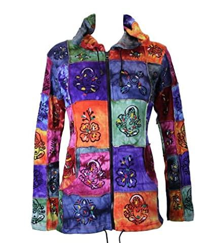 The Hippy Clothing Co. Nepalese Hand Painted Patchwork Hoodie L/Xl